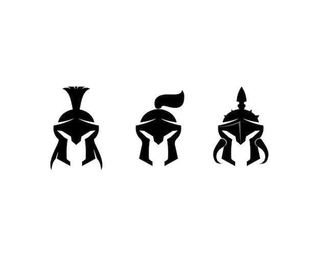 Logotipo espartano e capacete e cabeça