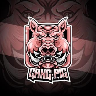 Logotipo esport com caráter de porco