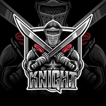 Logotipo esport com ícone de cavaleiro caracter