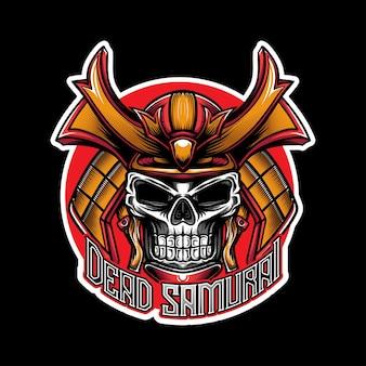 Logotipo esport com ícone de crânio samurai caracter