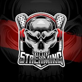 Logotipo esport com ícone de personagem de streaming de caveira