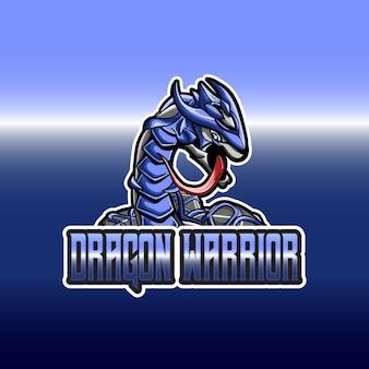 Logotipo esport com mascote dragão guerreiro