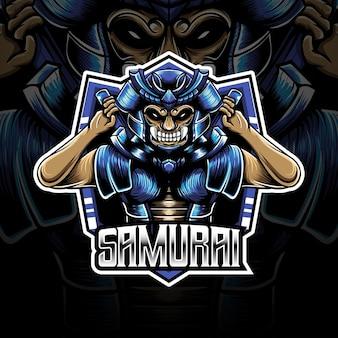 Logotipo esport com personagem de samurai