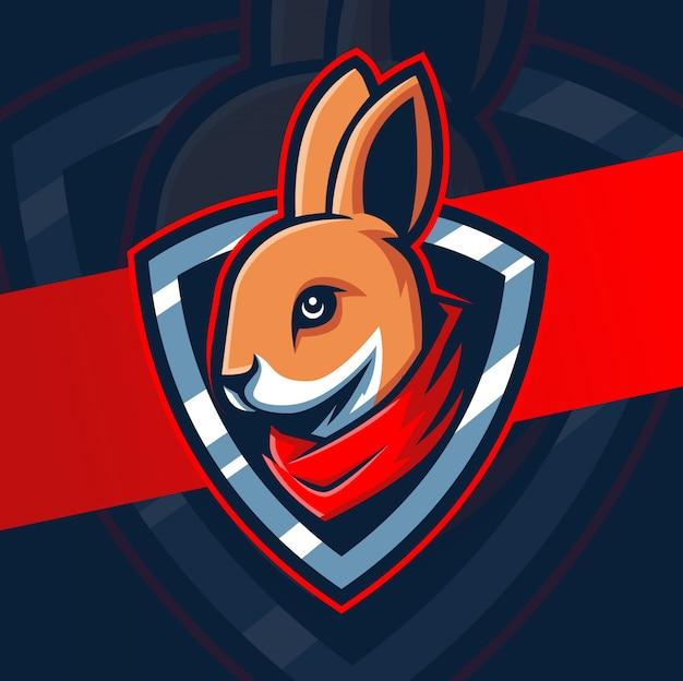 Logotipo esport de mascote de cabeça de coelho