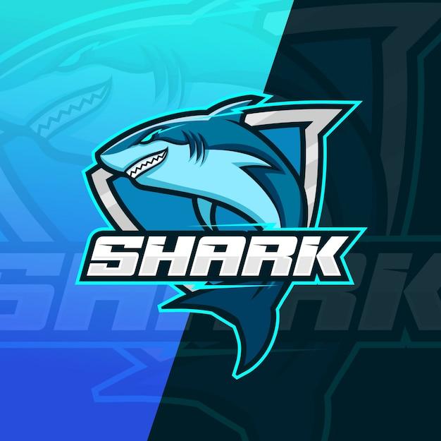 Logotipo esport de mascote de tubarão