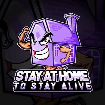 Logotipo esport de personagem permanecendo em casa por permanecer vivo com o coronavirus