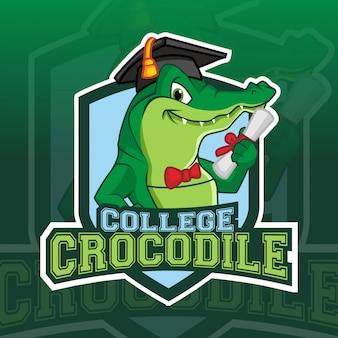 Logotipo esport do crocodilo faculdade mascote