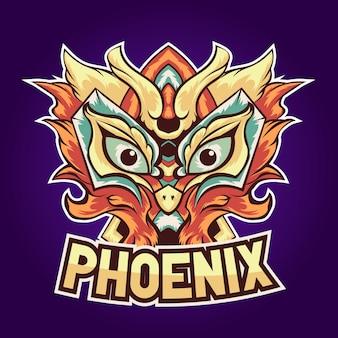 Logotipo esport do pássaro laranja phoenix