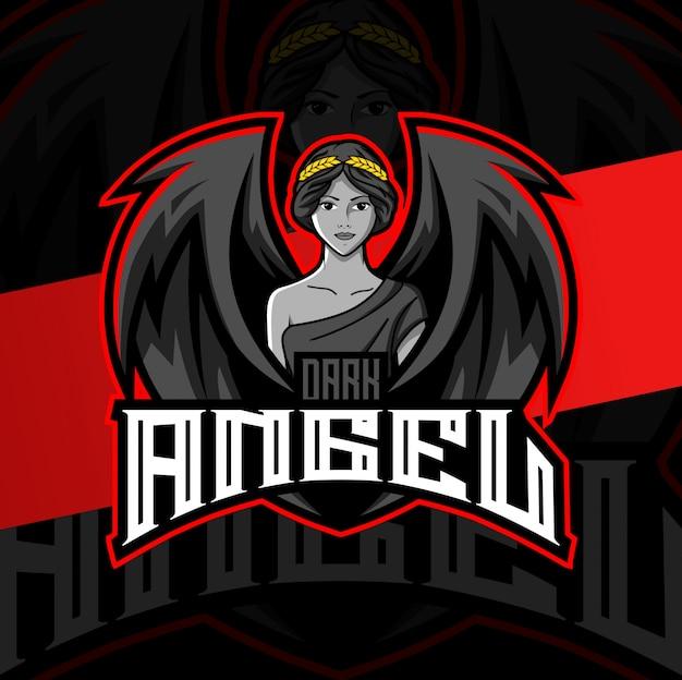 Logotipo esport esport mascote anjo escuro