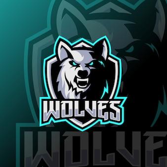 Logotipo esport mascote lobos