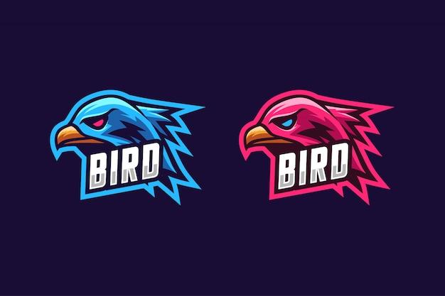 Logotipo esport simples de pássaros