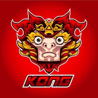 Logotipo esport vermelho do macaco