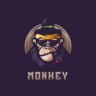 Logotipo esportivo de macaco fumando