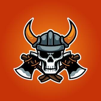 Logotipo esportivo viking skull head e