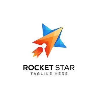 Logotipo estrela foguete vetor premium
