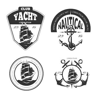 Logotipo, etiquetas e emblemas de vetor náutico vintage.