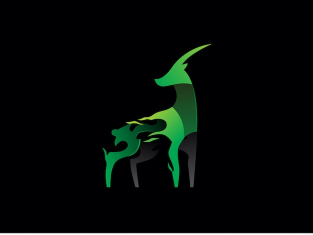 Logotipo exclusivo da gazela moderna. simples