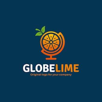 Logotipo exclusivo de limão com conceito de globo terrestre