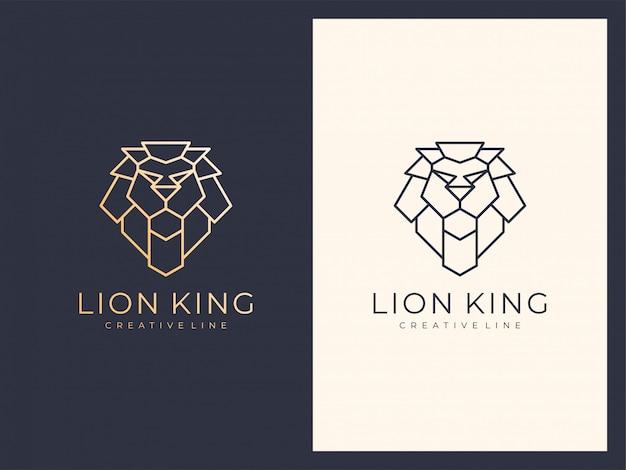 Logotipo exclusivo de luxo elegante linha leão
