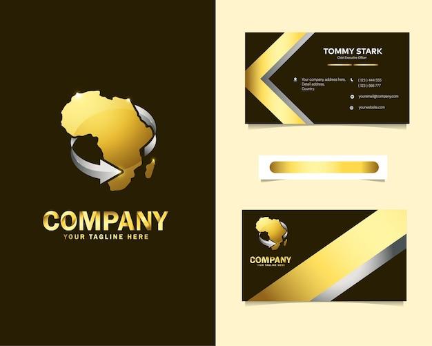 Logotipo expresso africano de luxo com modelo de cartão de visita de papelaria