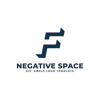 Logotipo f moderno espaço negativo limpo ilustração geométrica de letras