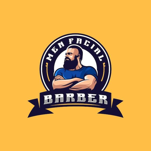 Logotipo facial masculino com vetor