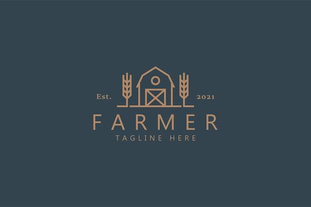 Logótipo farmer premium com trigo