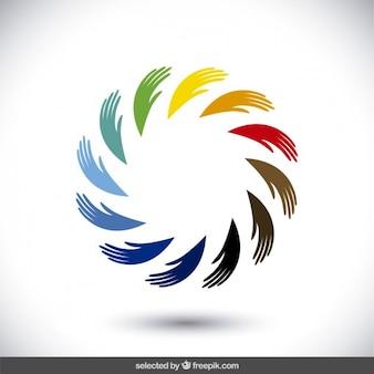 Logotipo feito com silhuetas de mão Vetor grátis