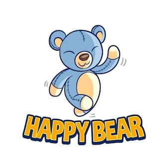 Logotipo feliz da mascote da boneca do urso