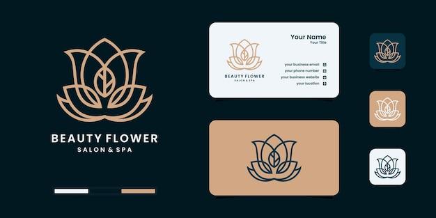 Logotipo feminino da forma do monograma da arte da linha do salão de beleza e spa.golden logo design, Vetor Premium