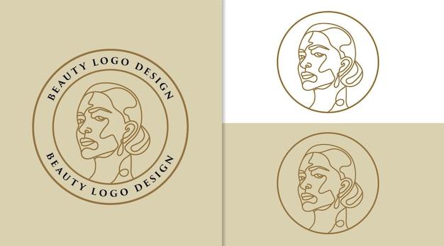 Logotipo feminino de beleza feminina rosto minimalista linha arte desenhada à mão