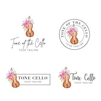 Logotipo feminino de flor e violoncelo em aquarela