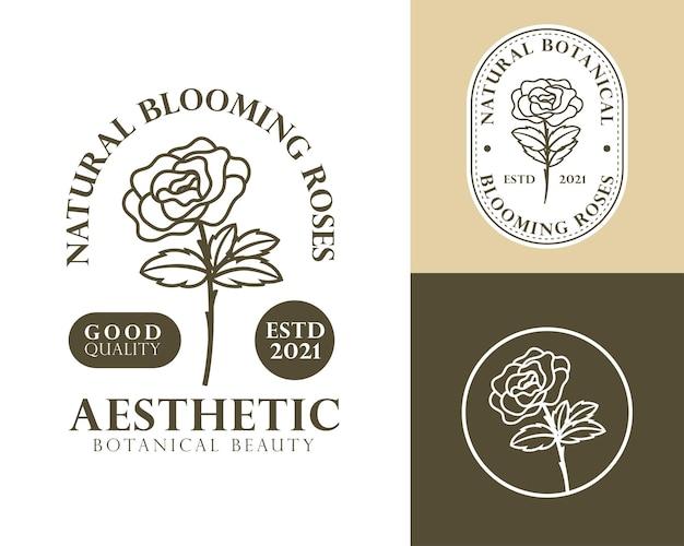 Logotipo feminino de flor rosa natural
