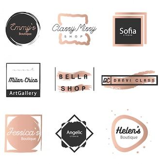 Logotipo feminino definido em preto e cooper