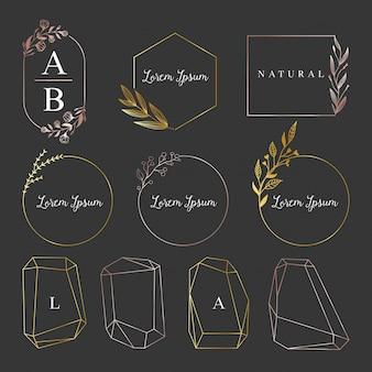 Logotipo feminino dourado, coleção de quadros