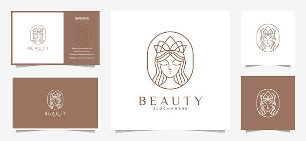 Logotipo feminino elegante com uma combinação de coroa e cartão de visita