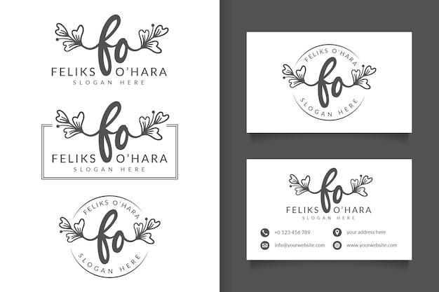 Logotipo feminino f inicial e modelo de cartão de visita