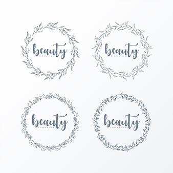 Logotipo feminino grinalda simples e elegante
