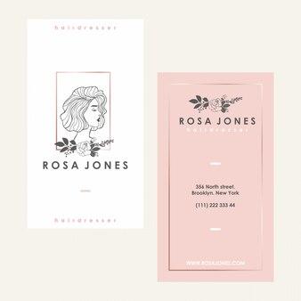 Logotipo feminino heardress e cartão de visita