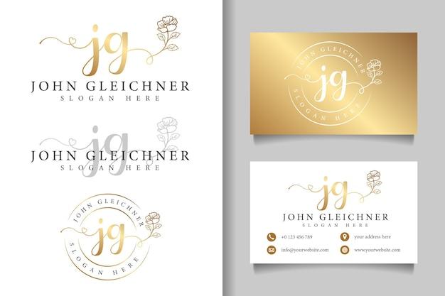 Logotipo feminino inicial jg e modelo de cartão de visita