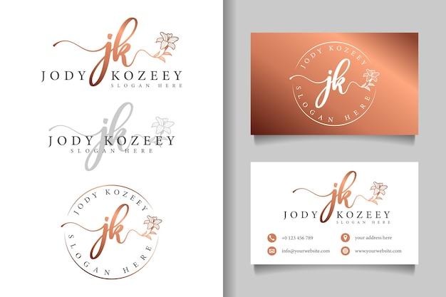 Logotipo feminino inicial jk e modelo de cartão de visita eles
