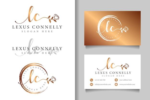 Logotipo feminino inicial lc e modelo de cartão de visita
