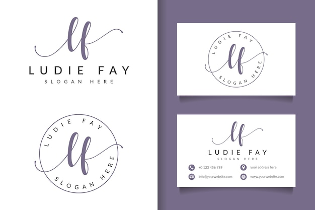 Logotipo feminino inicial lf e modelo de cartão de visita
