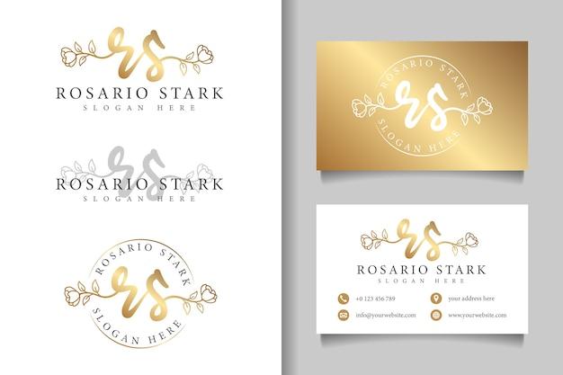 Logotipo feminino inicial rs e modelo de cartão de visita