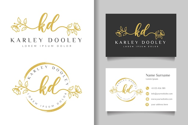 Logotipo feminino kd inicial e modelo de cartão de visita