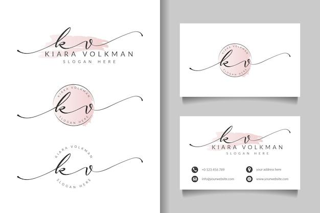 Logotipo feminino kv inicial e modelo de cartão de visita