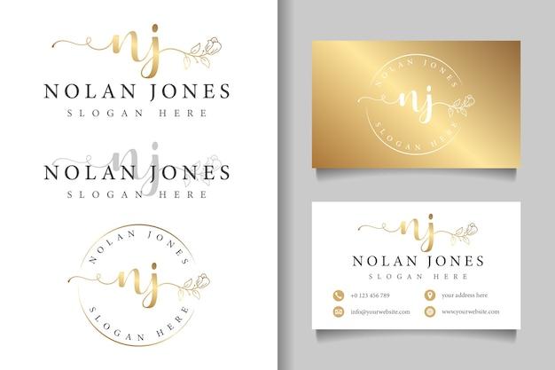 Logotipo feminino nj inicial e modelo de cartão de visita