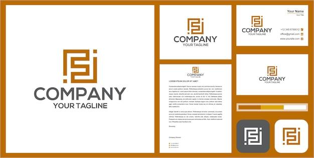 Logotipo fi ou f inicial com cartão de visita