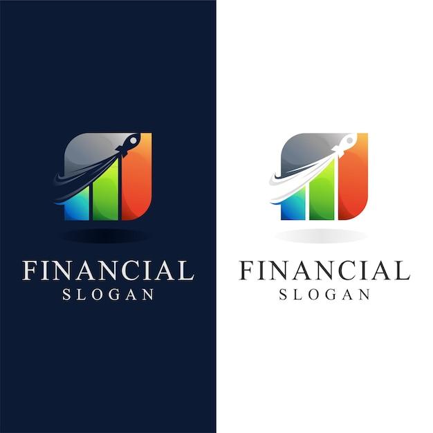 Logotipo financeiro com conceito de foguete