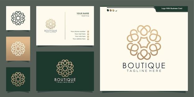 Logotipo floral boutique minimalista com design de cartão de visita. logotipo do modelo elegante do monograma.